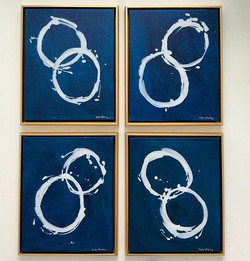 Blue and white CIRCLE SERIES framed in g