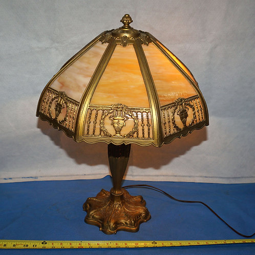 Ca 1920s Table Lamp With Panel Slag Glass Shade