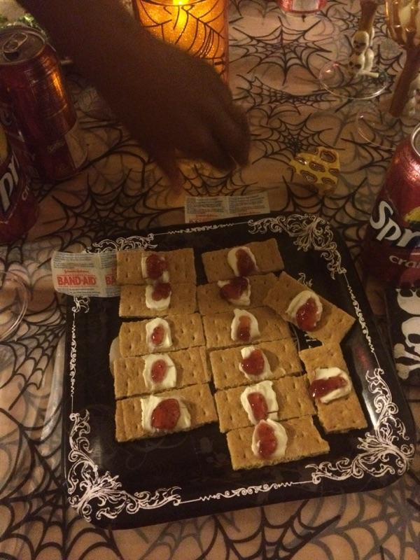 Halloween Food and Snacks Strawberry Jam Band Aids