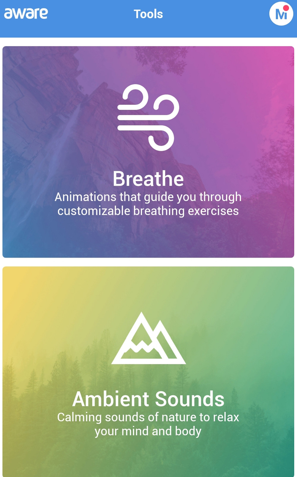 The Aware App is great to reduce stress and help meditation and mindfulness