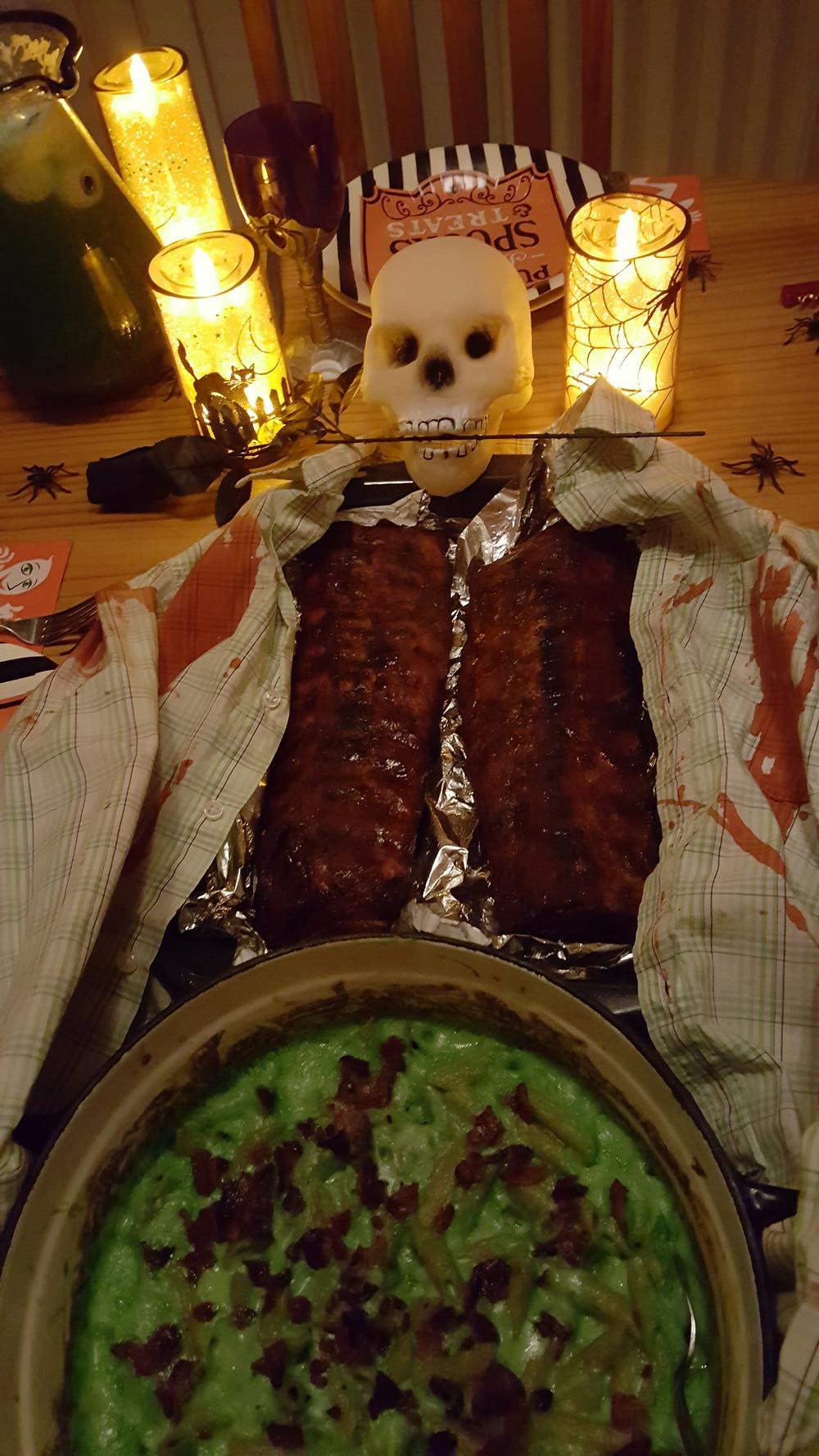 Halloween Dinner Ribs with Bacon Mac n Cheese