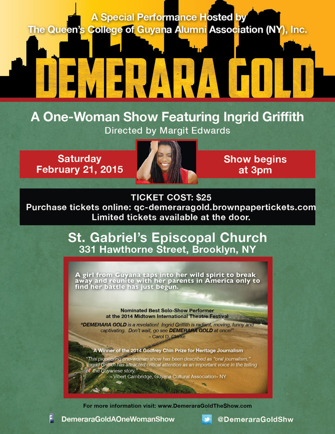 Alum Ingrid Griffith brings DEMERARA GOLD back to NYC!
