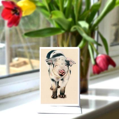 Muddy Piglet Greetings Card