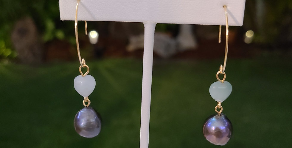Jade Heart Earrings with Edison Pearls (Gold Filled)