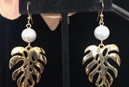 Monstera Large Earrings w/ Pearls