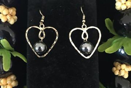 Heart Loop Earrings w/ Pearls