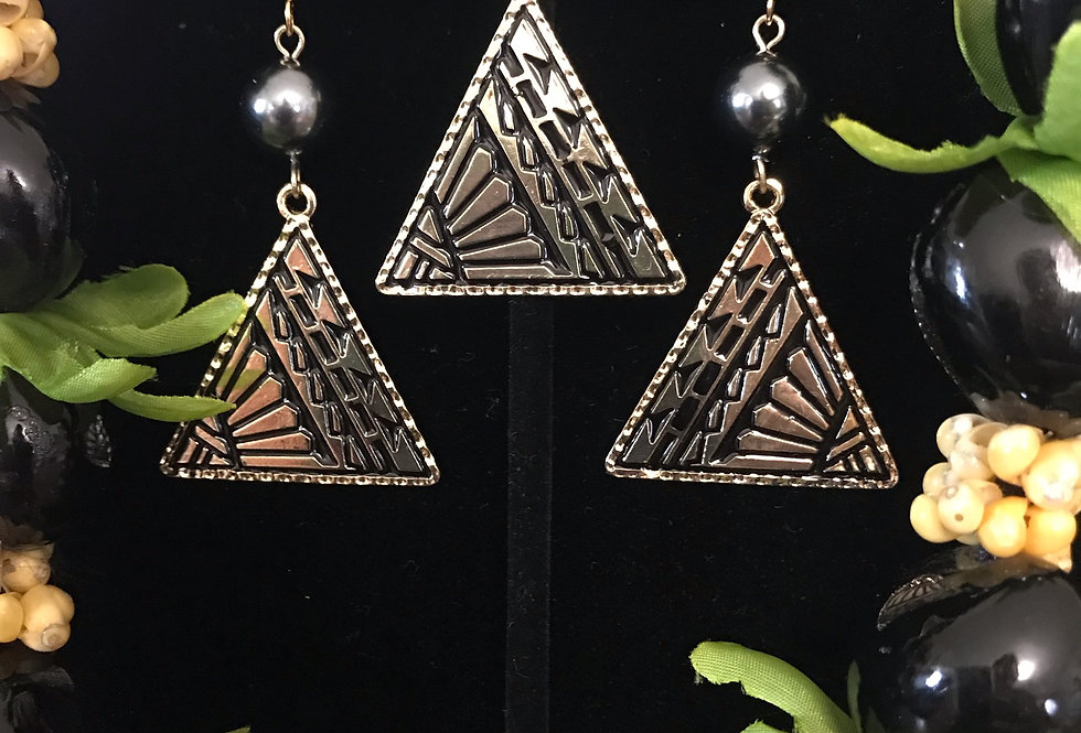 Tribal Triangle Earring and Necklace Set
