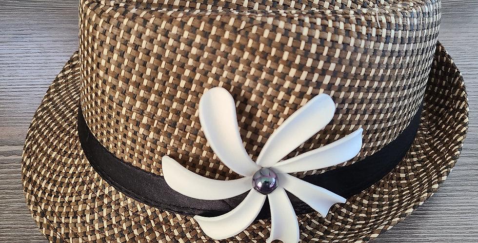 Dark Brown Fedora Hat with Tiare Flower