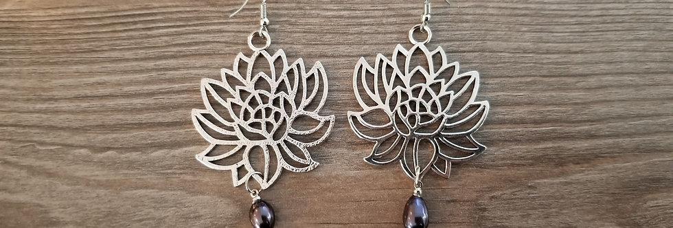 Silver Lotus Earrings w/ Pearls