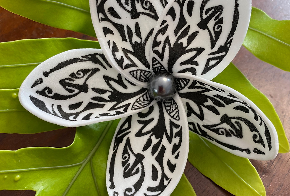 Black Polynesian Print Plumeria Mother of Pearl Flower