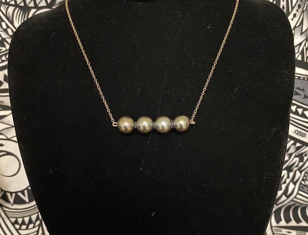 4 Pearl Gold Filled Necklace Tahitian pearl