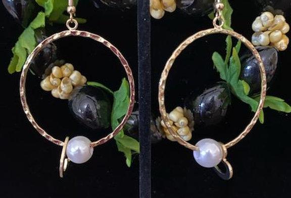 White Mother of Pearl Hoop Earrings