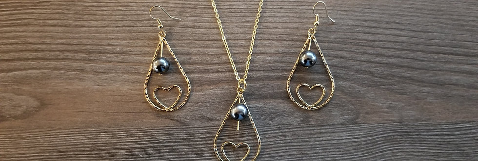 Heart Tear Hoop Earring and Necklace Set