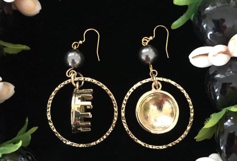 Samoan Kava Bowl Hoop Earrings w/ Pearls