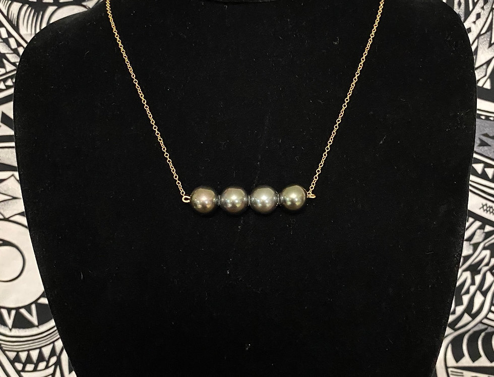 4 Tahitian  Pearl Gold Filled Necklace Set + Tahitian Pearl Stud