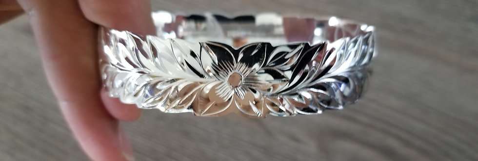 12MM - Maile Leaf Full Pattern Pure Sterling Silver