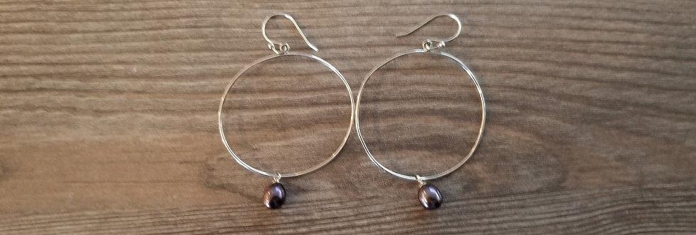 Sterling Silver Hoop Earrings w/ Black Fresh Water Pearls