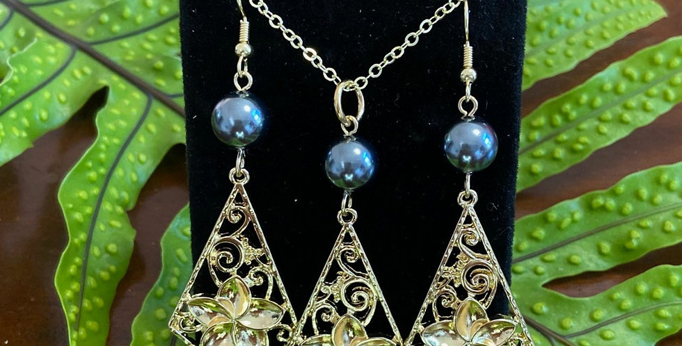 Large Plumeria Diamond Earring and Necklace Set