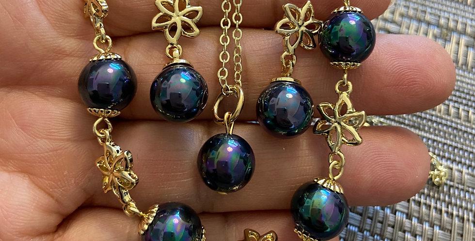 Blue Eye Flower Chain Pearl Bangle, Stud Drop Earring & Necklace Set