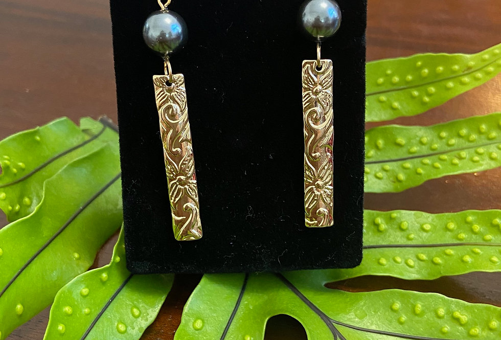 Bar Dangle Earrings w/ Pearls