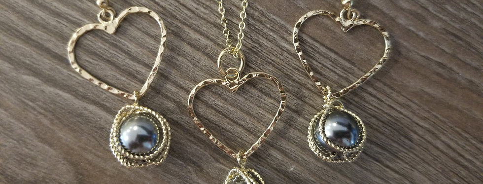 Heart Wrapped Pearl Earrings  and Necklace Set
