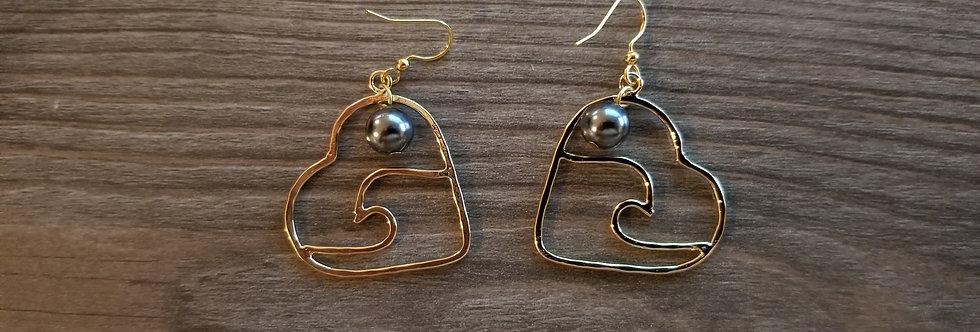 Wave Heart Earrings