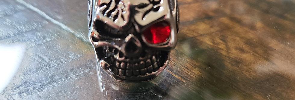 Silver Skull Ring w/ Red Eye