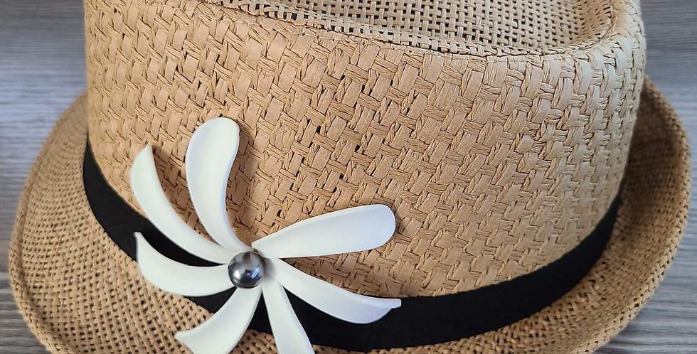 Brown Fedora Hat with Tiare Flower