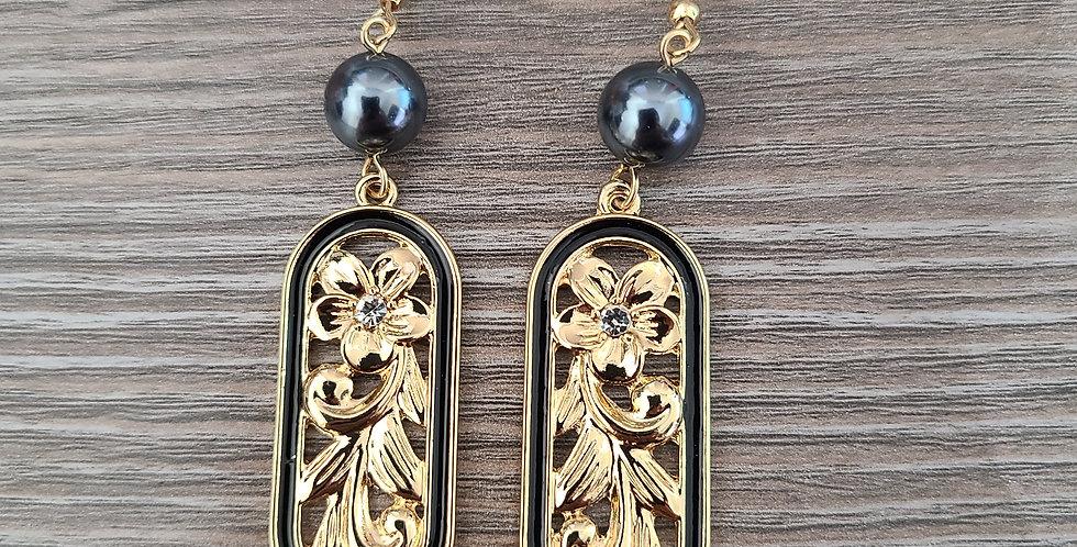 Long Oval Plumeria Earrings