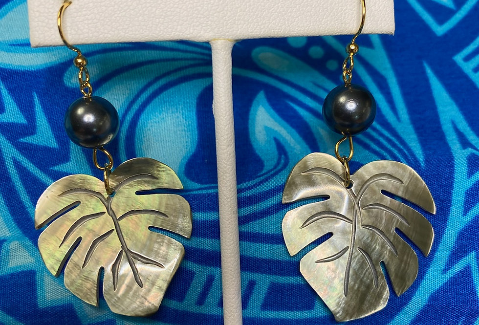 Monstera Mother of Pearl Shell Earrings w/ Pearls