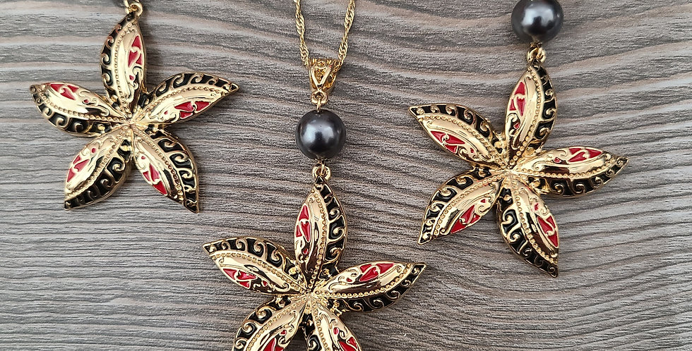 Tribal Starfish Twisted Necklace Chain w/Pearl and Earring Set (24-26in)