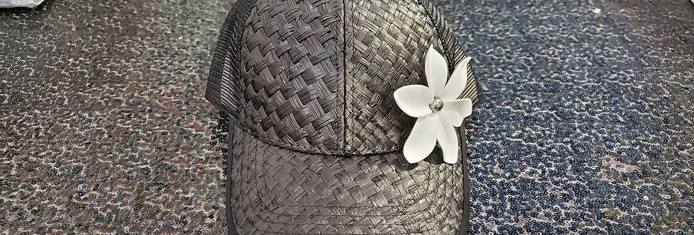 Black Lauhala Hat with Plumeria Flower