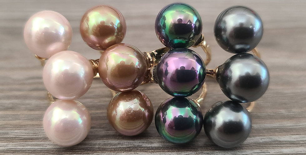 3 Pearl Adjustable Ring Gold Filled