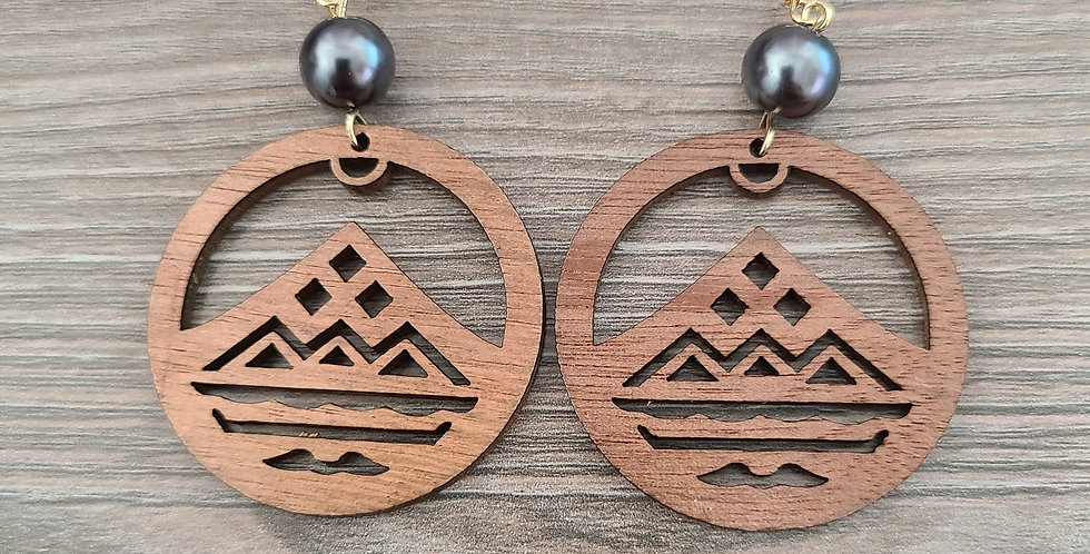 Mauna Mountain Hoop Sandlewood Earrings