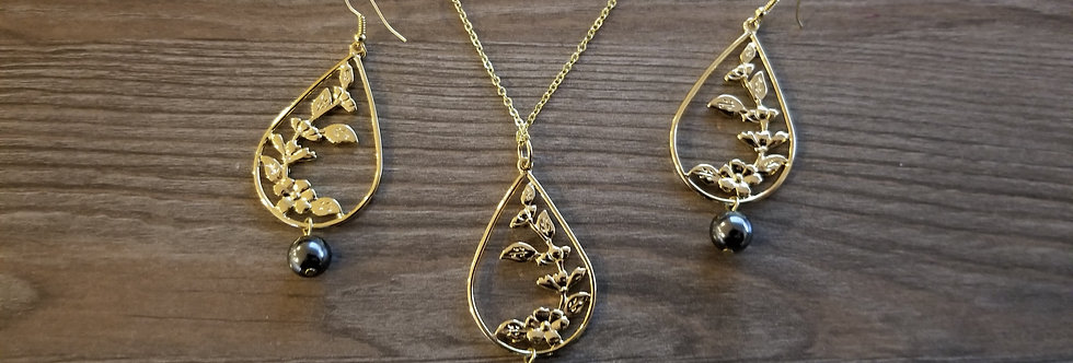Plumeria Tear Earring and Necklace Set