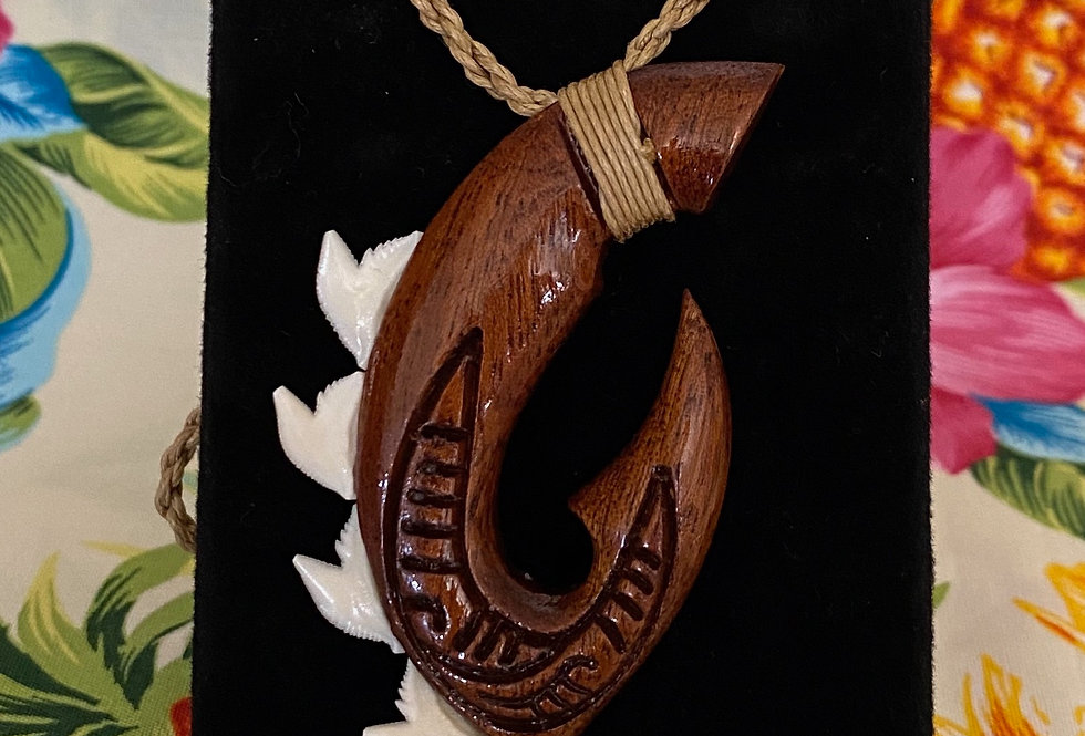 Shark Tooth Wrapped Dark Wood Tattoo Hook Necklace (Adjustible 26in Max)