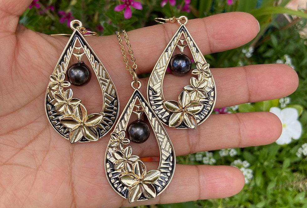 Triple Plumeria Tear Drop Tribal Earring and Necklace Set