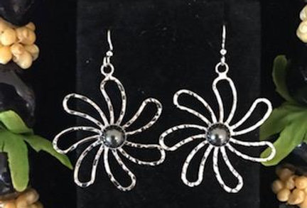 Silver Tiare Flower Earrings without Pearls