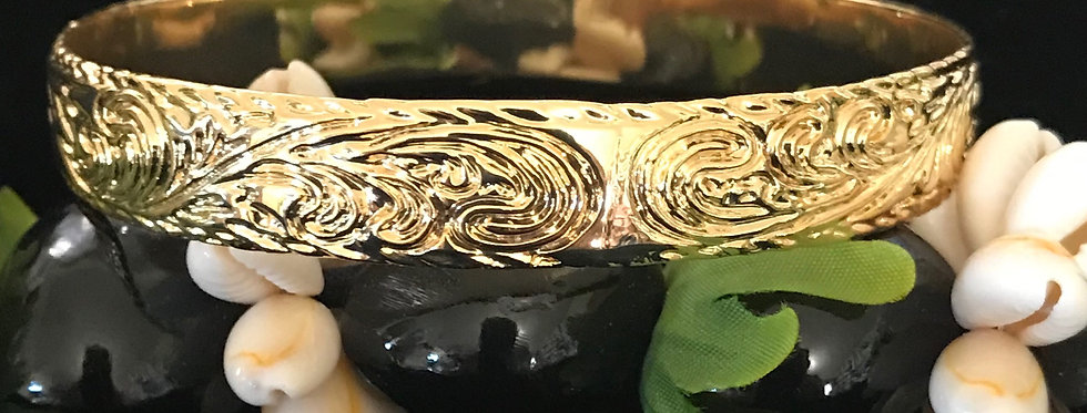 12MM Queen Print Gold Filled Bangle