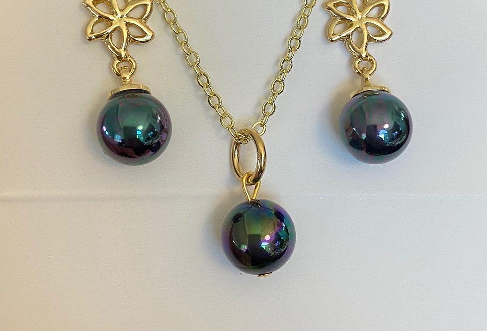 Blue Eye Flower Stud Drop Earring and Single Peakcock Pearl Necklace Set