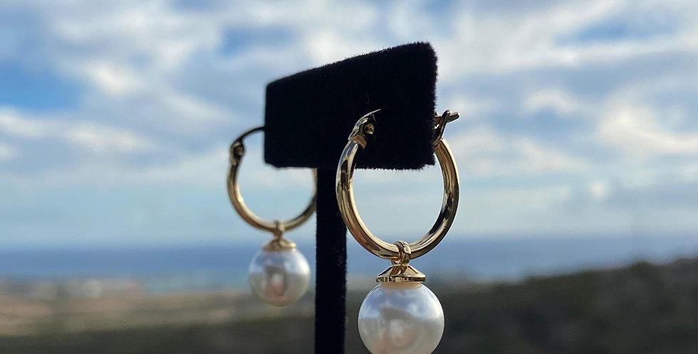 Mini Hoop White Earrings 1/2in (Gold Filled)