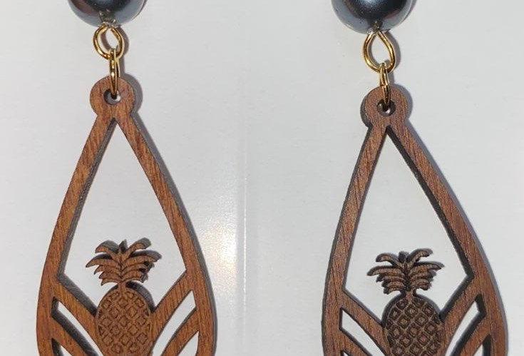 Pineapple Tear Drop Sandlewood Earrings