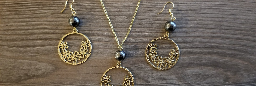 Plumeria Circle Earring and Necklace Set