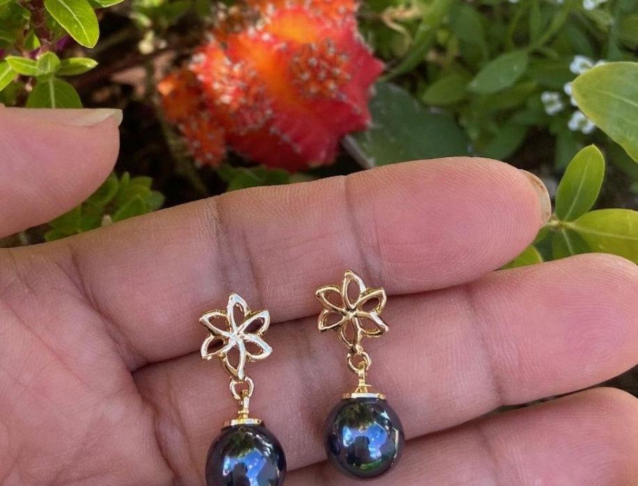 Blue Eye Flower Stud Drop Pearl Earrings