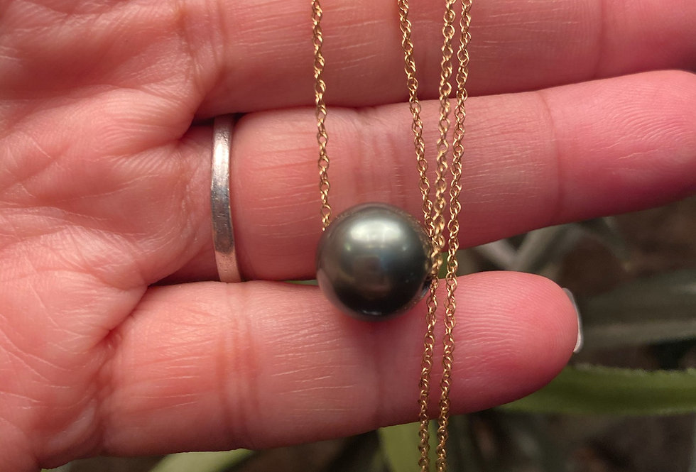 """Tahitian pearl necklace floater on 18"""" gold filled chain (9-10mm)"""