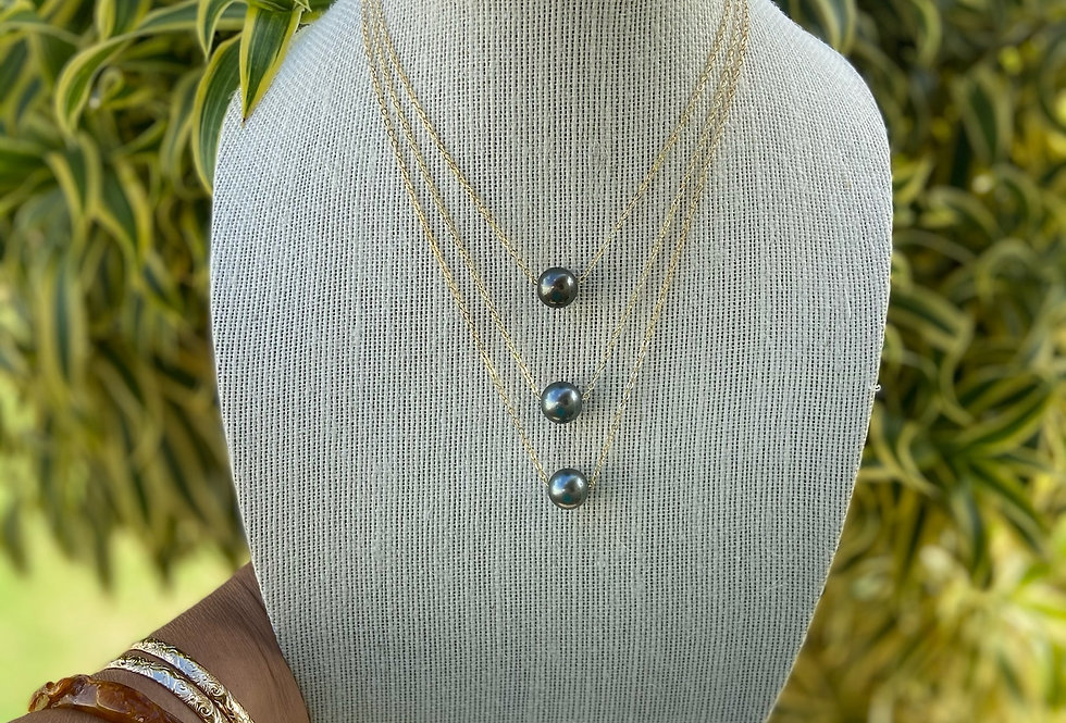 Tahitian Pearl Necklace Floater on gold filled chain (12mm)