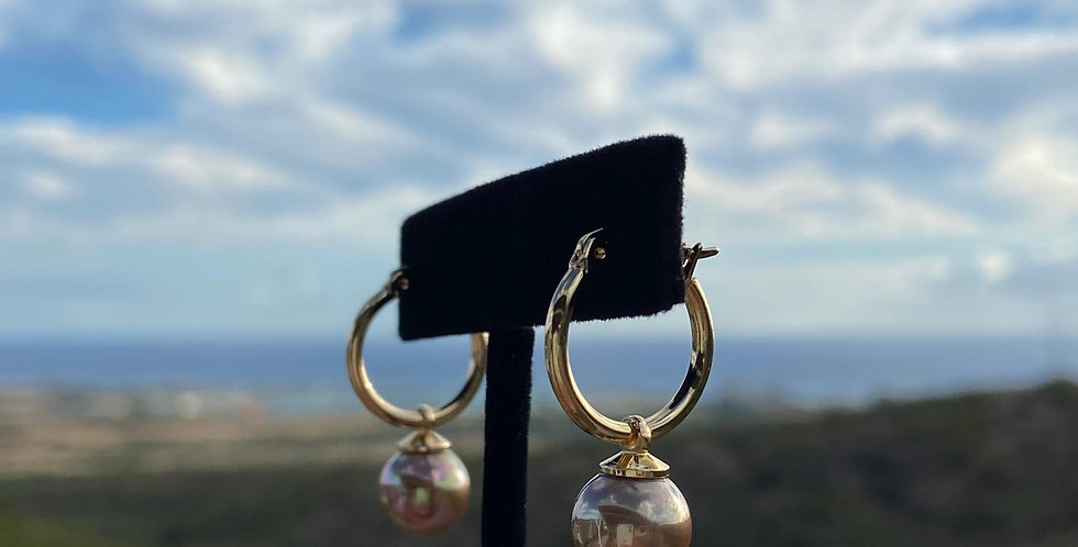 Small Hoop Champagne Earrings 1in (Gold Filled)
