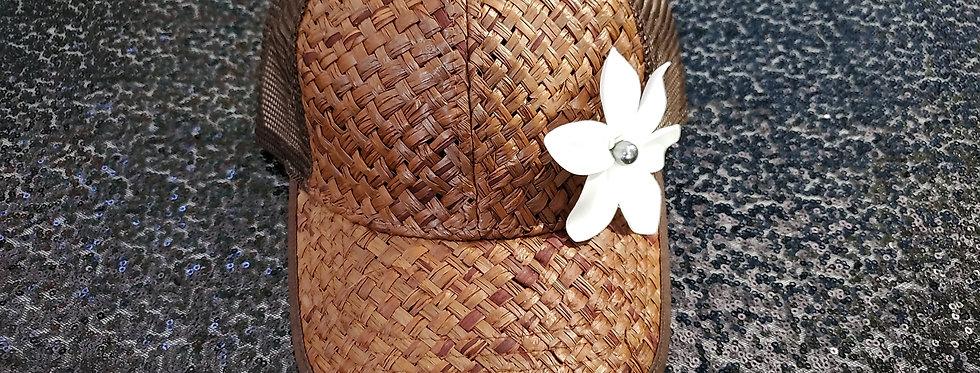 Brown Lauhala Hat with Plumeria Flower