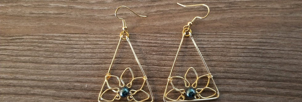 Gold Plated Half Flower Triangle Wire Earrings w/ Black Fresh Water Pearls
