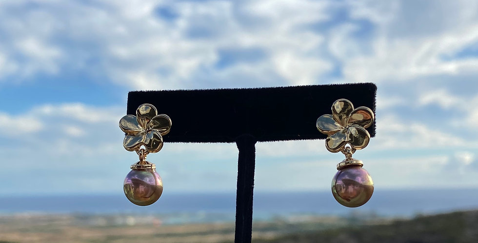 Plumeria Drop Iridescent Earrings (Gold Filled)